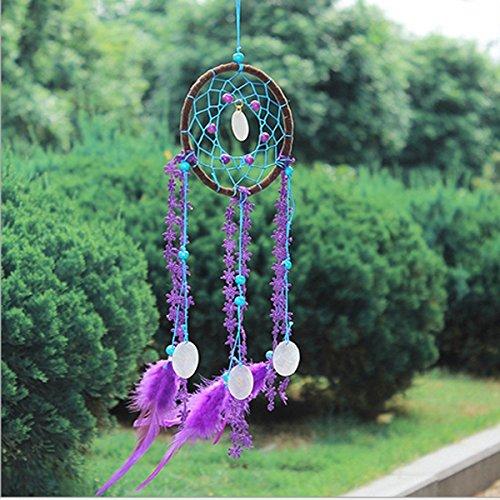Hanging Ornaments - Purple Feather Dream Catcher Handmade Window Wall Hanging Car Decor Oranments Craft - Plumage Daydream Plate Fledge Aspiration Plume Ambition Square Stargaze - 1PCs