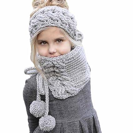 Amlaiworld Bufandas Bebé Sombreros hechos a mano de punto de invierno de niñas  bebé Gorros con 7b3fb91b6f5