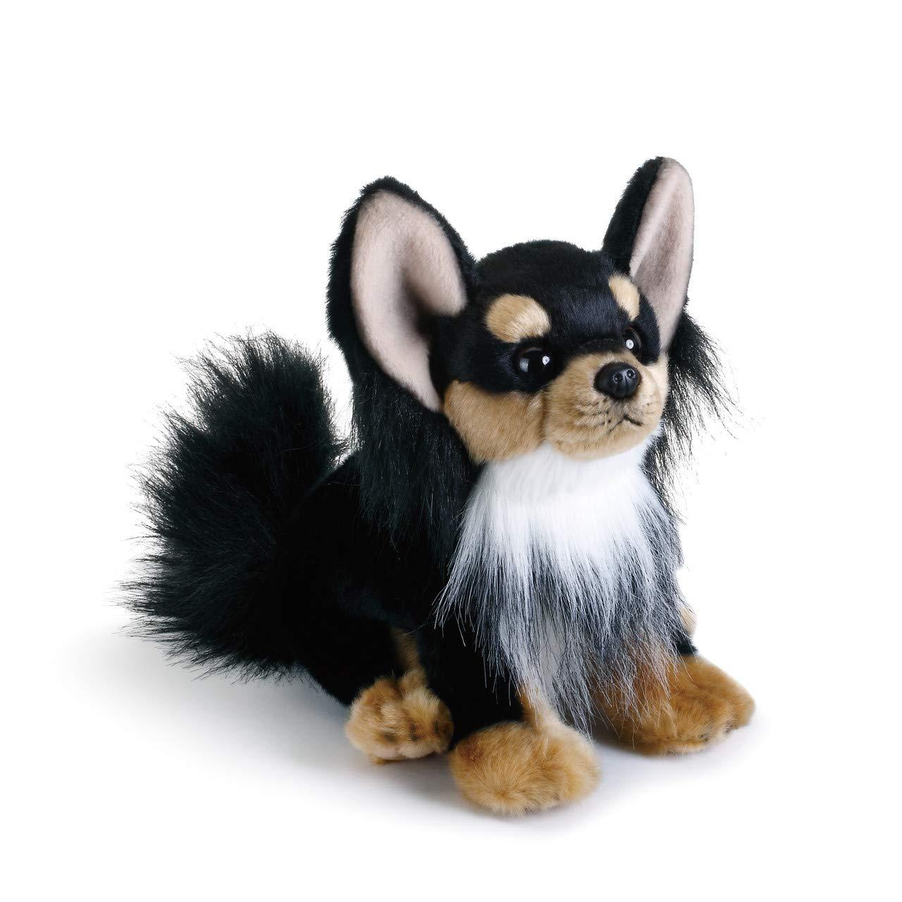 DEMDACO Black Long-Haired Chihuahua Childrens Plush Beanbag Stuffed Animal Toy