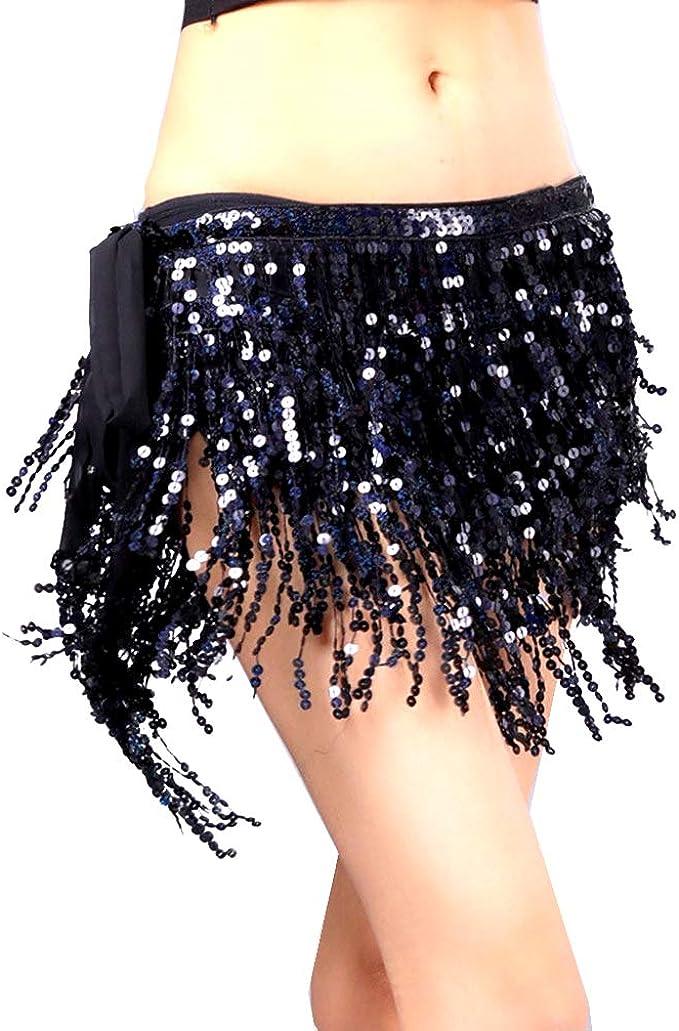 Shiny Belly Dance Waist Chain Hip Skirt Scarf Belt with Bells Beaded Tassels