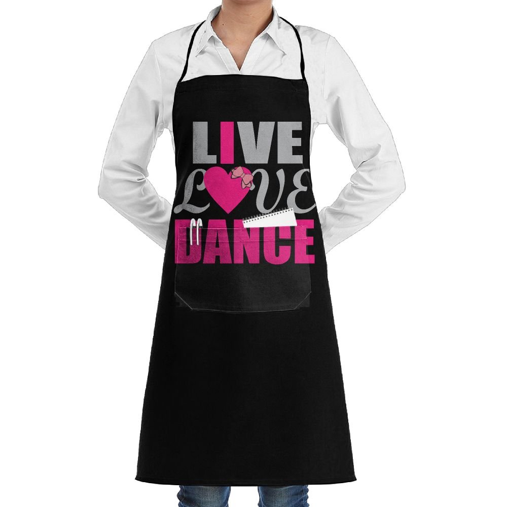Live Love Dance Ballet Cooking Kitchen Aprons With Pockets Bib Apron For Cooking, Baking, Crafting, Gardening, BBQ