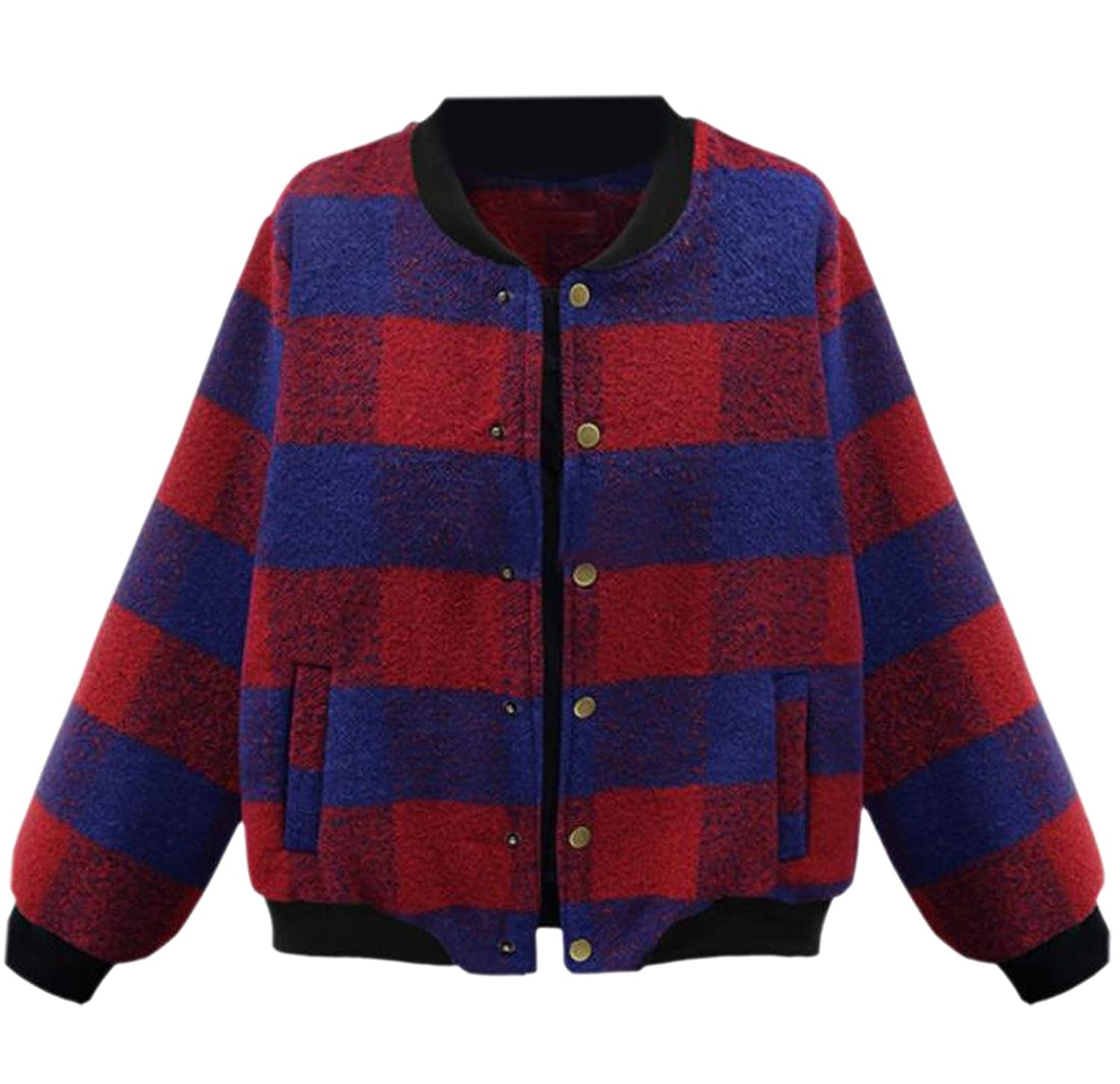 Comfy Women's Casual Stand-up Collar Plaid Long Sleeve Top Coat