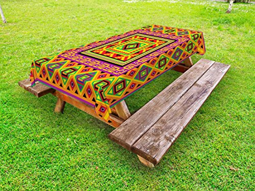 Lunarable Aztec Outdoor Tablecloth, Mexican Ornament with Colorful Squares Indigenous Tribal Framework Antique Artistic, Decorative Washable Picnic Table Cloth, 58 X 120 inches, Multicolor by Lunarable