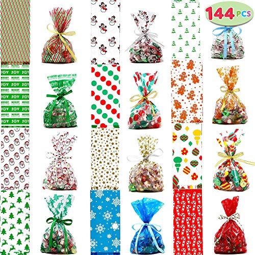 JOYIN 144 PCs Christmas Cellophane Goody Bags with Twist Ties for Christmas Holiday Treats Bags, Christmas Party Favors, Cello Candy Bags, Party Supplies, Christmas Goodie Bags (144 PCS Mixed-Color) ()