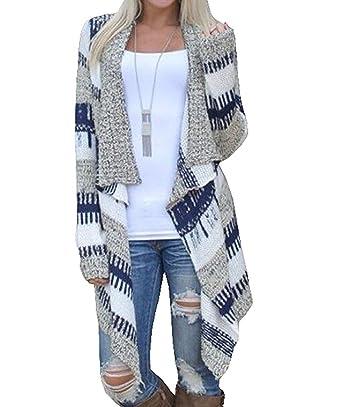 Cardigan Femme Manches Longues Long-Gilet Rayures Veste Pull Tricot  Blousons Manteaux Asymétrique Top Pulls  Amazon.fr  Vêtements et accessoires b60b7a030331