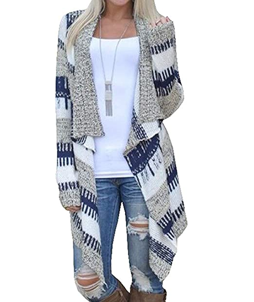 Otoño Invierno Mujer Cardigans Lrregular Jersey Abrigos Tops Estampado Rayas Sweatshirt Chaquetas de Punto: Amazon.es: Ropa y accesorios