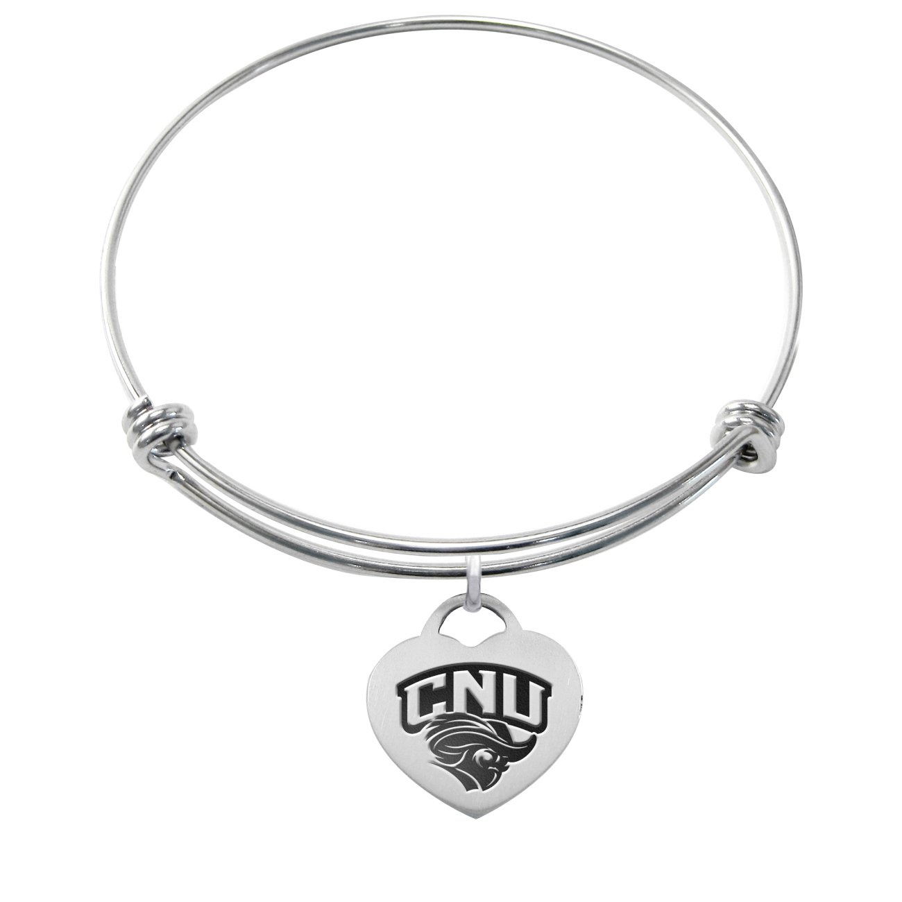 Christopher Newport Captains Stainless Steel Adjustable Bangle Bracelet with Heart Charm