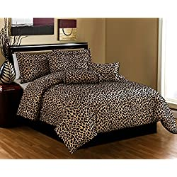 Black / Brown Comforter Set Leopard Print Microfur Bed In A Bag Queen Size Bedding