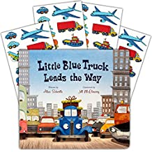 """Little Blue Truck Board Book Set Baby Toddler -- Deluxe Lap Book with Sticker Pack (""""Little Blue Truck Leads The Way"""")"""