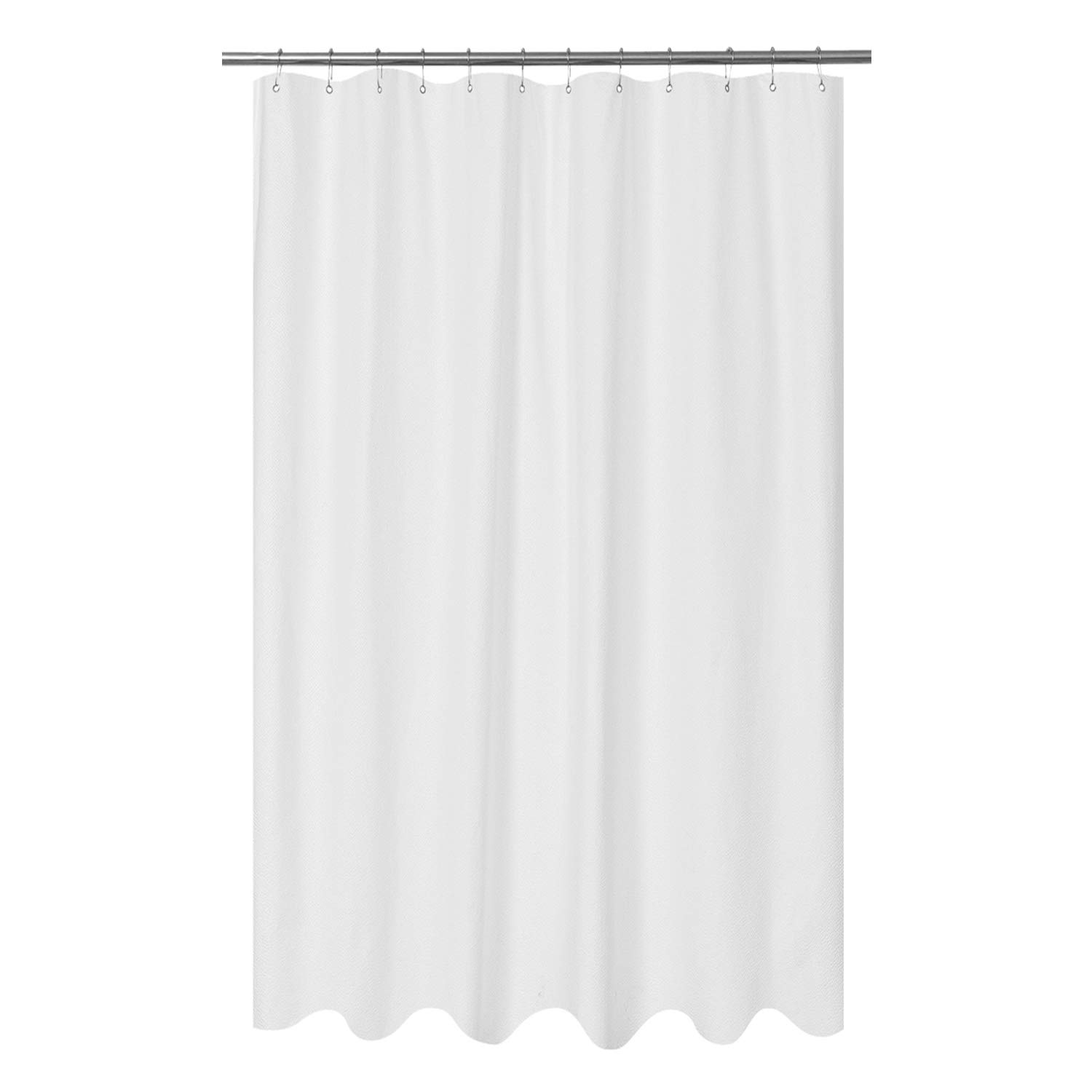 Mrs Awesome Embossed Microfiber Fabric Extra Long Shower Curtain Liner 84 inches Length, Washable and Water Repellent, White