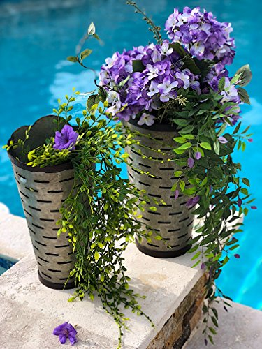 Set of 2 Wall Planter Hanging Galvanized Metal Tall Olive Bucket Container Organizer for Flowers Succulent Air Decorative Plants Tools Distressed Indoor or Outdoor (18
