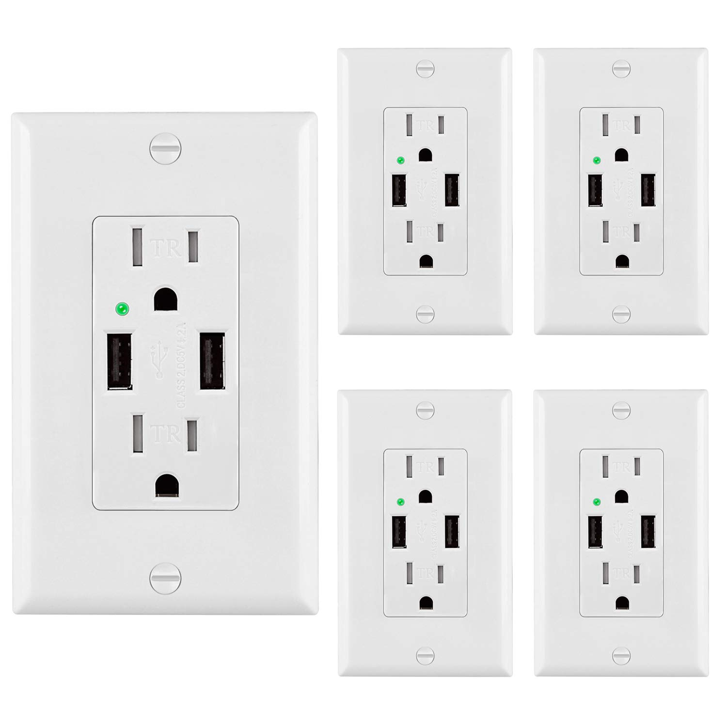 [5 Pack] BESTTEN USB Receptacle Outlets with Dual USB Charging Ports (4.2 Amp Shared) and 2 Tamper-Resistant AC Sockets (15A/125V/1875W), Wall Plates Included, UL Listed, White