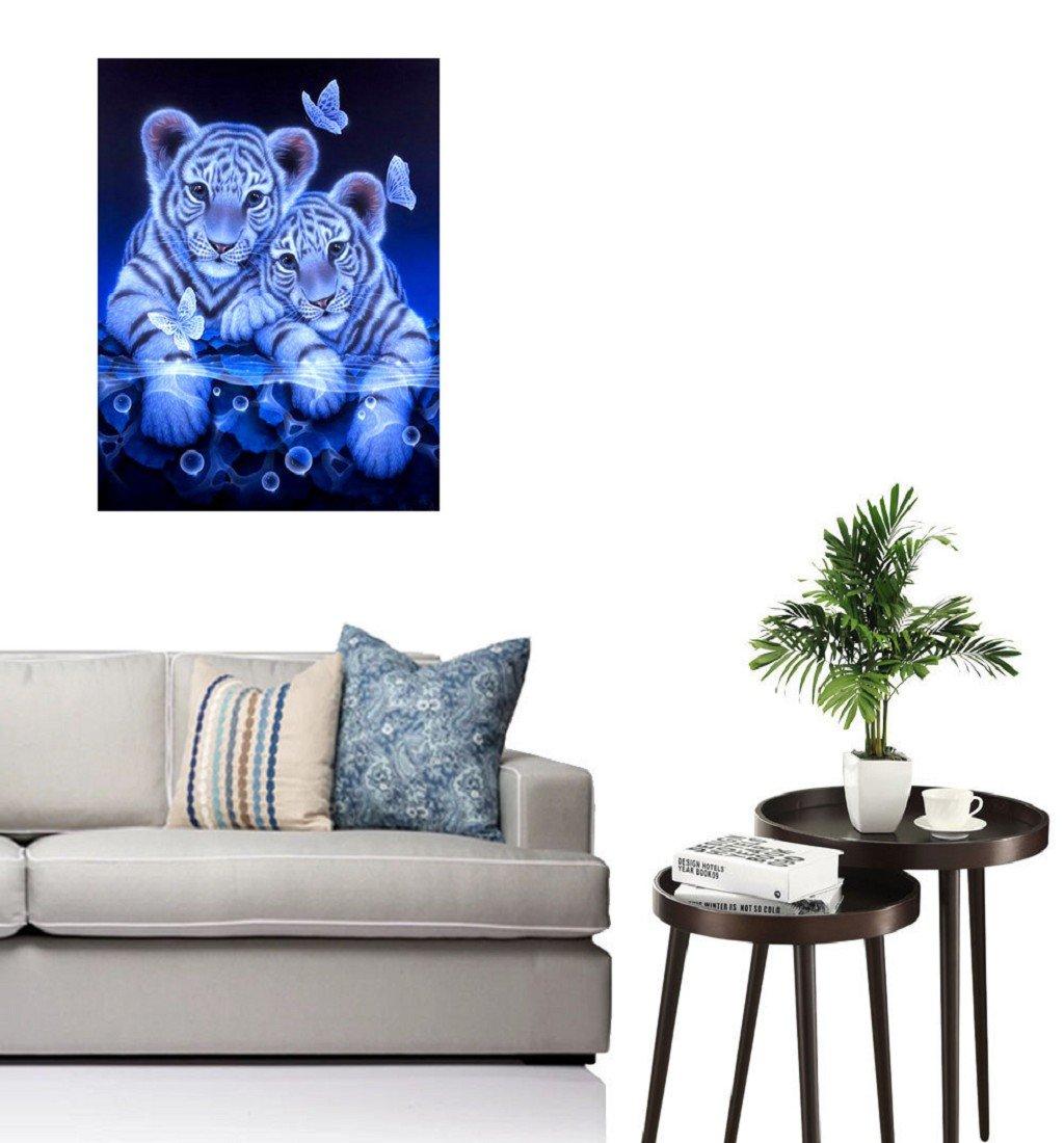 25*30CM, Gris Tigre ❤️5D DIY Peinture en Diamant Amaliwolrd Partie Ronde Point de Croix de Broderie de Diamant Cadeau de D/écoration de Maison Salon Chambre Diamond Painting Kits