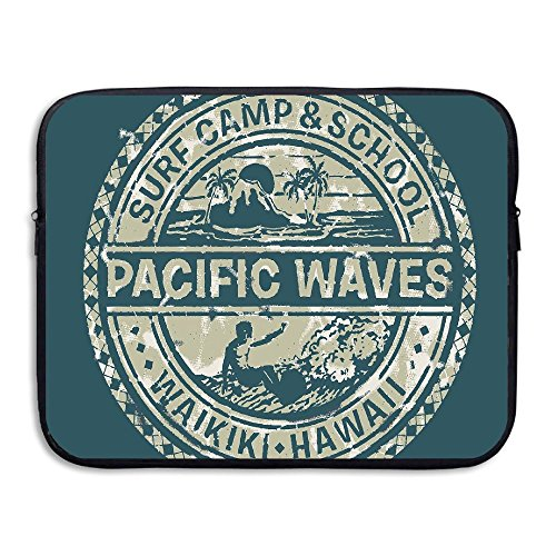 ALLX00QOQ Pacific Waves Surf Camp And School Hawaii Logo Motif With Artsy Effects Shock-Resistant Notebook Carrying Cover Bag Size 13 Inch (Camp Waves Surf)