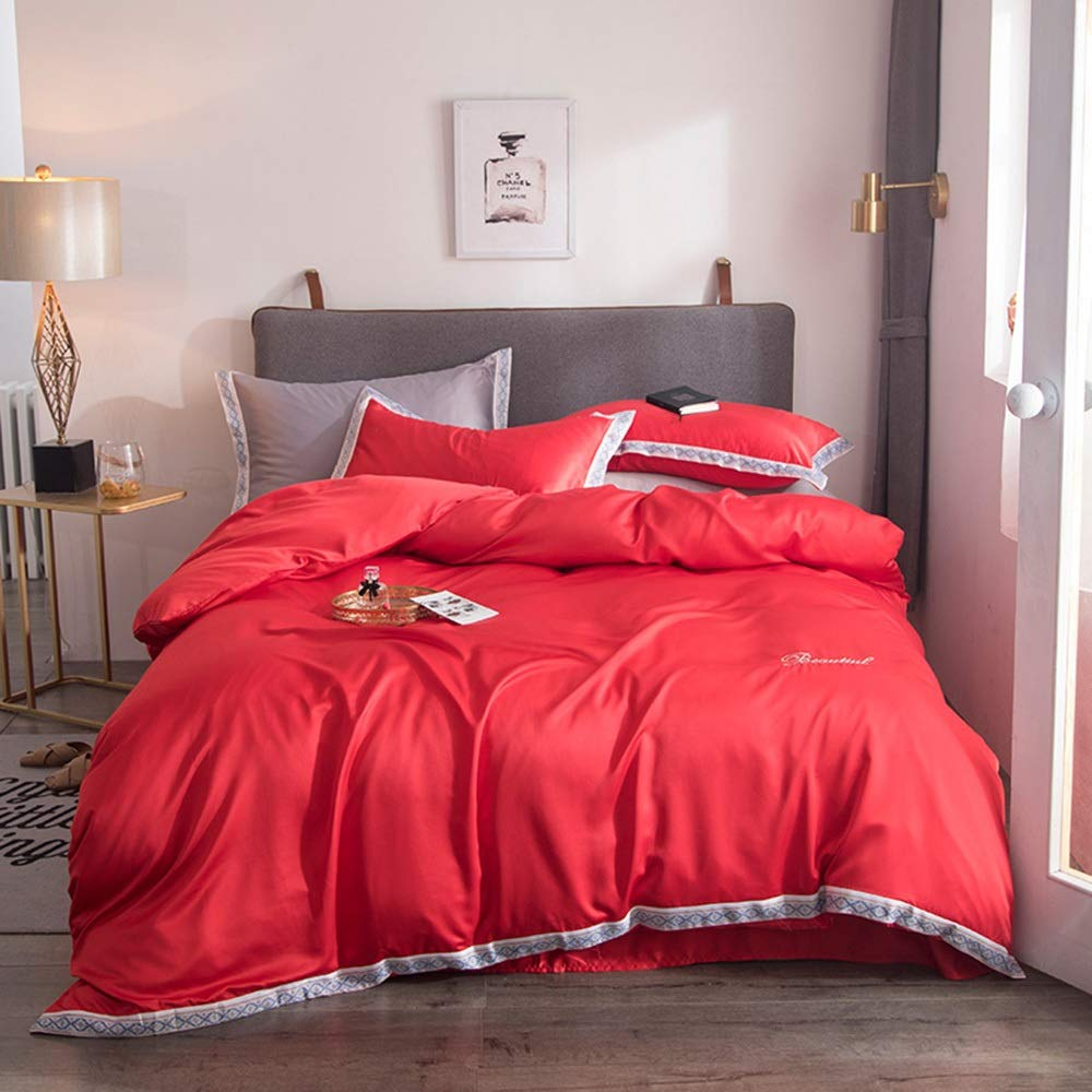 CSYP 春と夏の新しいヨーロッパのベッドリネン裸睡眠洗浄シルク4ピースアイスシルクシーツキルトカバーシルクキルトカバー (Color : Red) B07Q56Y9CY