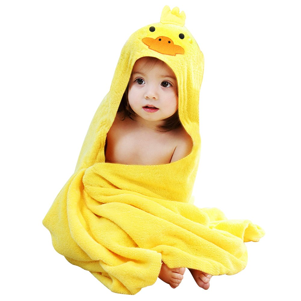 Librao Baby Hooded Towel Organic for Kids Boys Girls Bamboo Bath Towels 0-7 Years Old (Yellow Duck&Blue Bear, 2 Pack)