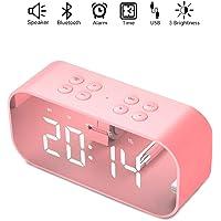 Bocina Bluetooth, Estéreo Altavoz Inalámbrico Bluetooth 5.0 Portátil Micrófono Incorporado Reloj de Alarma, Entrada 3.5mm AUX/Micro SD/TF/USB, Ideal Viaje, Fiesta, Playa, Coche, Habitación