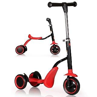 Scooter per Bambini Good Boy Baby A Tre Ruote Carrozzina Multifunzione A Doppia Funzione Il Blocco Scorrevole Multifunzione può Trasportare Giocattoli per Bambini Regalo,Red