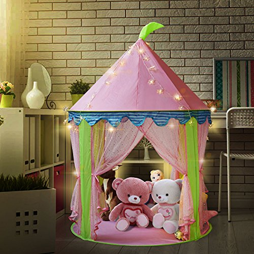 Sonyabecca Princess Castle Tent, Tent for Girls Pop up Tent Pink with 16ft Snowflake LED - Tent Tale Fairy