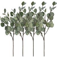 """Aisamco 4 Stück Künstliche Silber Dollar Eukalyptus Büschen Spray in Grau Grün 25,5 """"Hoch Eukalyptus Blatt Floral Stem Künstliche Grün Floral Party Party Hochzeit Dekor"""