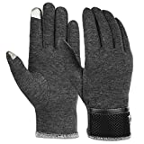 Vbiger Men Warm Gloves Winter Touch Screen Gloves Cold Weather Gloves Texting Mittens for Men (Grey)