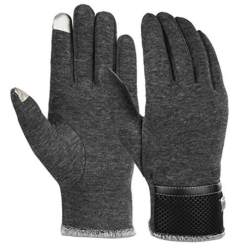 Vbiger Men Warm Gloves Winter Touch Screen Gloves Cold Weather Gloves Texting Mittens for Men, Gray, One Size Gloves