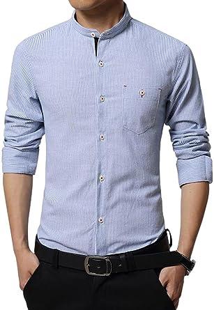 b301318637b jeansian Men s Fashion Casual Stripe Slim Fit Shirts Tops MAH029 LightBlue  XS