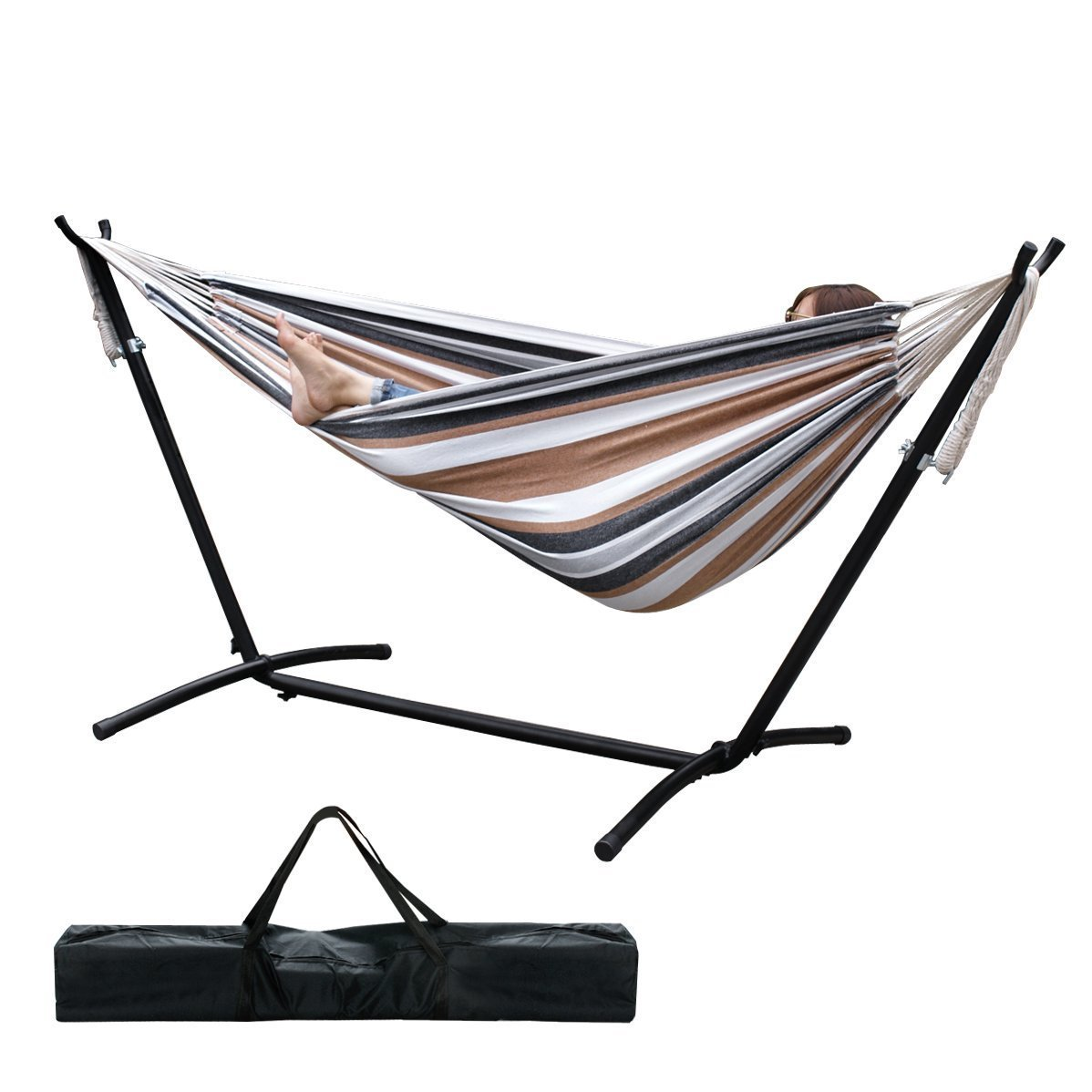 Medium image of amazon     zeny double hammock 9 u0027 with space saving steel stand includes portable carrying case  desert stripe    garden  u0026 outdoor