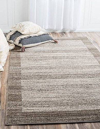 Unique Loom Del Mar Collection Beige 9 x 12 Area Rug (9' x 12') - Patio Border Rug