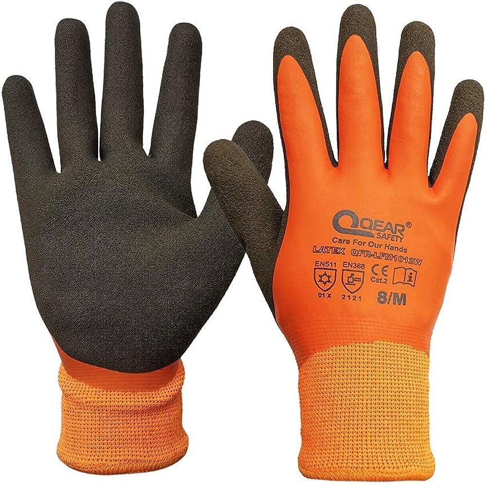 Thermal Winter Cold Resistant Work Gloves, Waterproof, Latex Coated, 1 Pair (X-Large/10