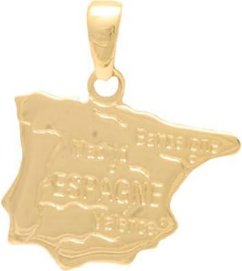 Colgante mapa país España – chapado en oro incluye cadena dorada ...