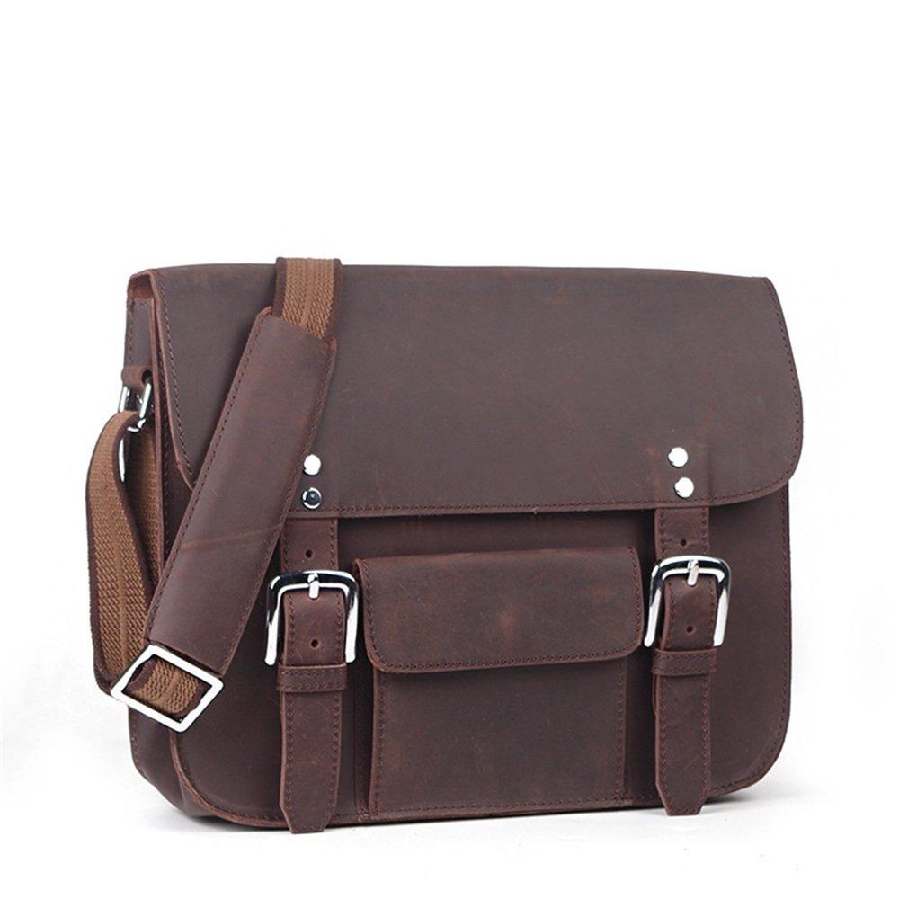 Dark Brown KTYXDE Mens Leather Shoulder Bag Fashion Personality Messenger Bag Large Capacity Computer Bag 35 8.5 28cm Briefcase