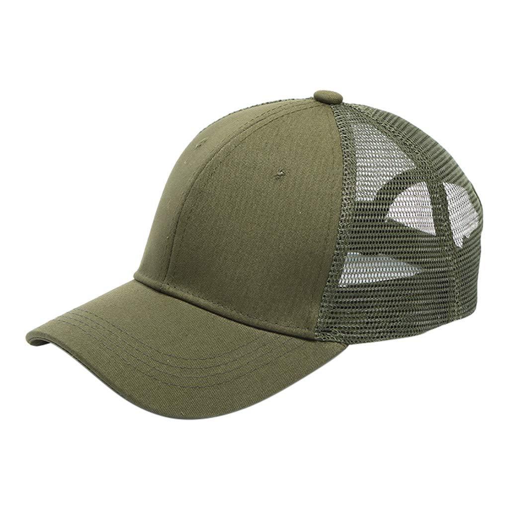 d0d443da89b Ponytail High Messy Buns Adjustable Glitter Mesh Trucker Plain Baseball Hat  Visor Cap Dad Hat for Adults Kids (Army Green) at Amazon Women s Clothing  store