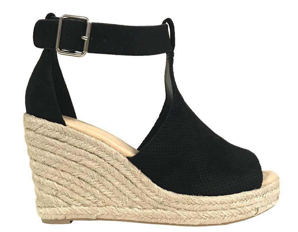 City Classified Cashiers Women's Perforated Cutout Faux Suede Espadrille Platform Wedge Sandals B07DRZ7L5F 9 B(M) US|Black Faux Suede