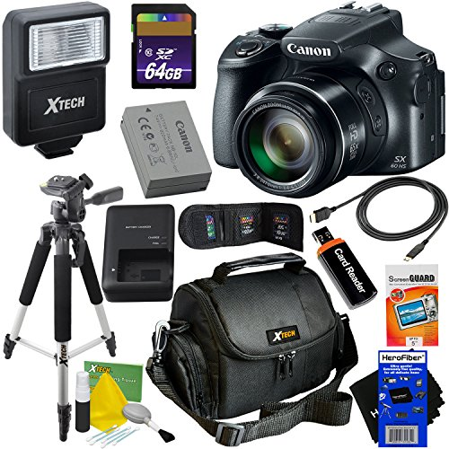 Cheap Canon Powershot SX60 HS 16.1MP Digital Camera 65x Optical Zoom with tilt LCD screen, Wi-Fi & NFC Enabled (Black) International Version + Flash + 11pc 64GB Accessory Kit w/HeroFiber Cleaning Cloth