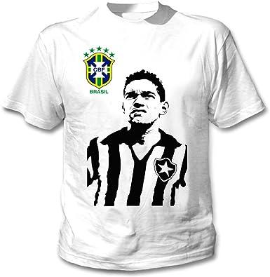 teesquare1st GARRINCHA Camiseta Blanca para Hombre de Algodon: Amazon.es: Ropa y accesorios