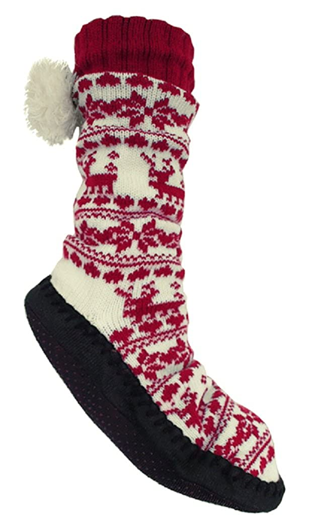 Ladies Fleece Lined Slipper Sock with Sole
