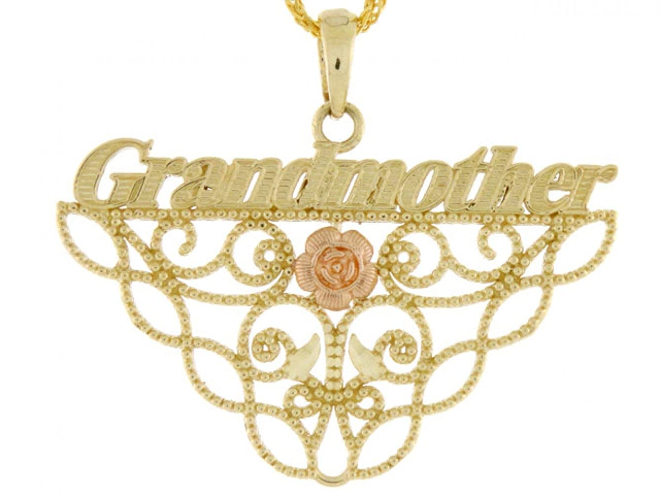 14k Gold Two-Tone Grandmother Rose Flower Charm Pendant