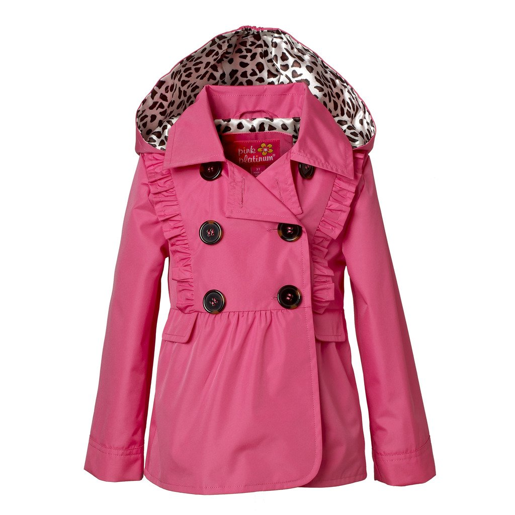 Pink Platinum PP682462-PNKGLO-12M Jacket for Girls – Lightweight Peacoat Trench with Ruffle Detail
