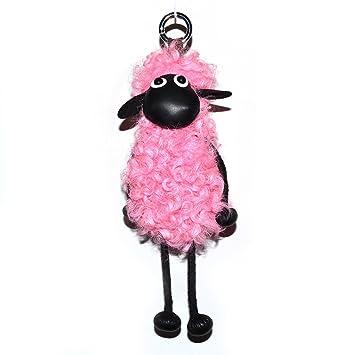 Oveja Shaun clave cadena pompón Real piel de lana de oveja ...