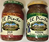 El Pinto Restaurant & Cantina New Mexico Salsa - Two 16oz Jars (One Mild, One Medium Green Chile)