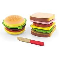 Viga 50810 set med hamburgare och smörgås av trä, multifärg, 2