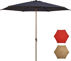 Ogrmar 11Ft Patio Umbrella Outdoor Table Umbrella with Push Button Tilt and Crank for Terrace, Backyard, Garden, Courtyard, Swimming Pool, Lawn (Navy Blue)