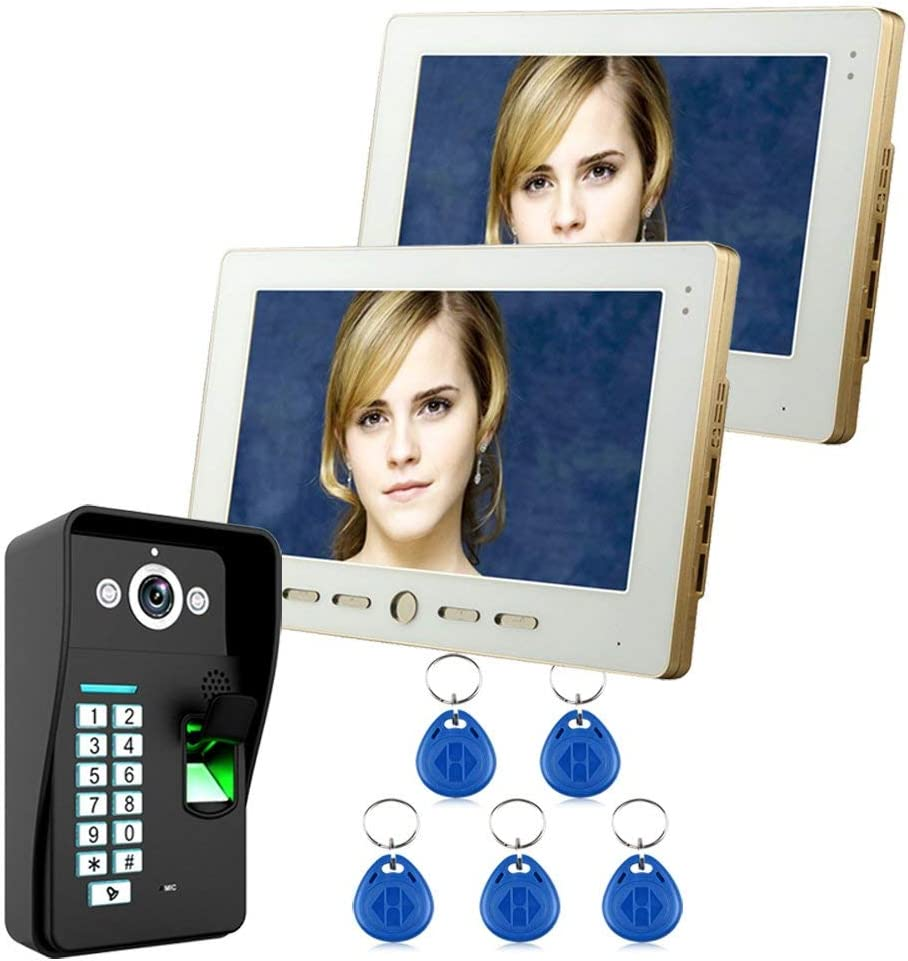"""10"""" LCD 2 Monitor Fingerprint Recognition RFID Password Video Door Phone Intercom System kit with IR Camera 1000 TV Line Remote Access Control System LED: 2 Infrared LED Lights 61A9knwpQULSL1000_"""