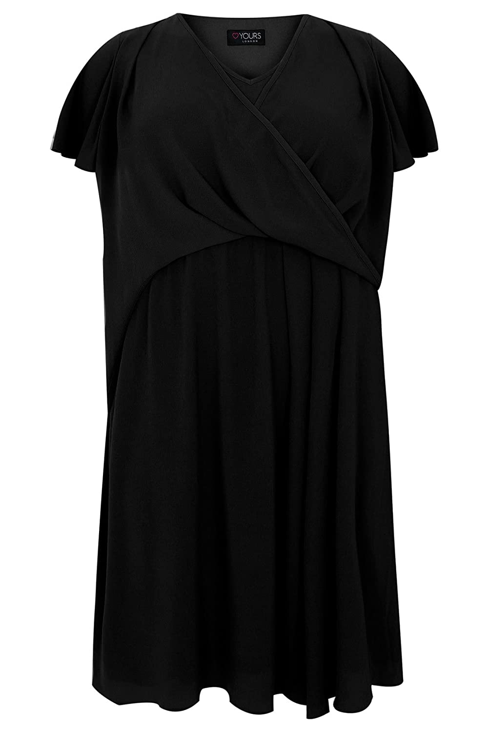 Yoursclothing Plus Size Womens Wrap Front Midi Dress With Angel Sleeves