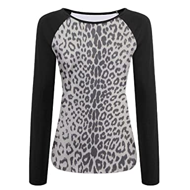 360d39474a92a TO-JP 3D Print Grey Leopard Print Long Sleeve Shirt Womens Baseball Shirt  at Amazon Women s Clothing store