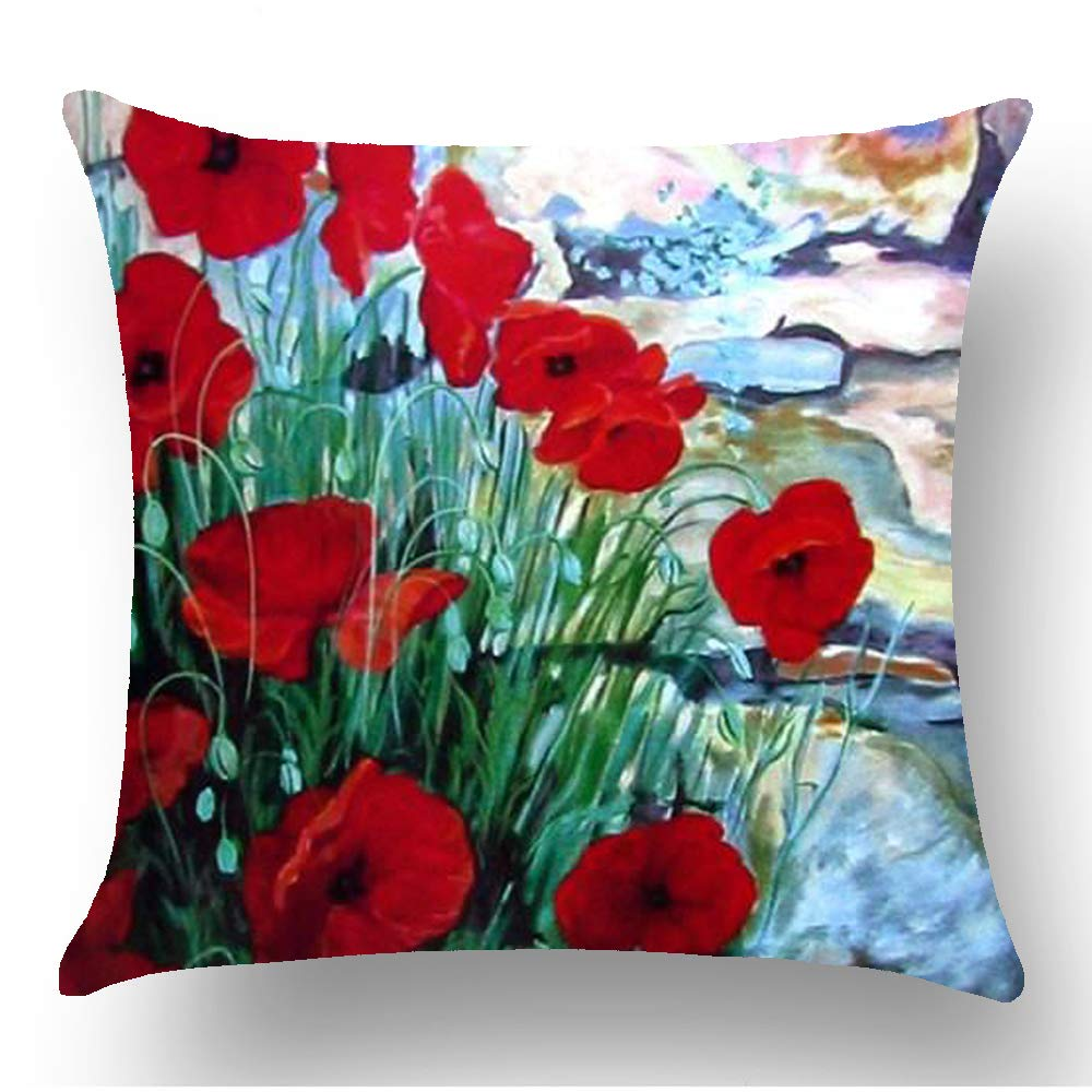 WePurchase Hand Painted Oil Painting Watercolor Colorful Retro Red Blue Green Poppy Flowers Decoration Cotton Linen Decorative Home Sofa Living Room Throw Pillow Case Cushion Cover Square 18x18 Inches