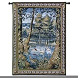 Fine Art Tapestries Verdure With Animals Wool and Cotton Wall Tapestry