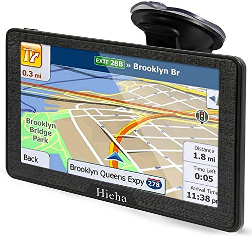 Hieha 7 Inches Navigation System for Car Truck RV Vehicles with Pre-Loaded Latest US CA MX Maps, 8GB 256Mb Touch Screen GPS Navigation Device with Car Bracket Holder, Lifetime Free Map Updates