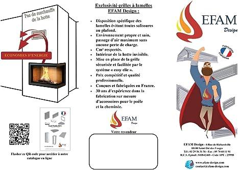 Ventilation//a/ération pour chemin/ées Grille /à lamelles blanche 70 x 20 cm EPG70X20HB